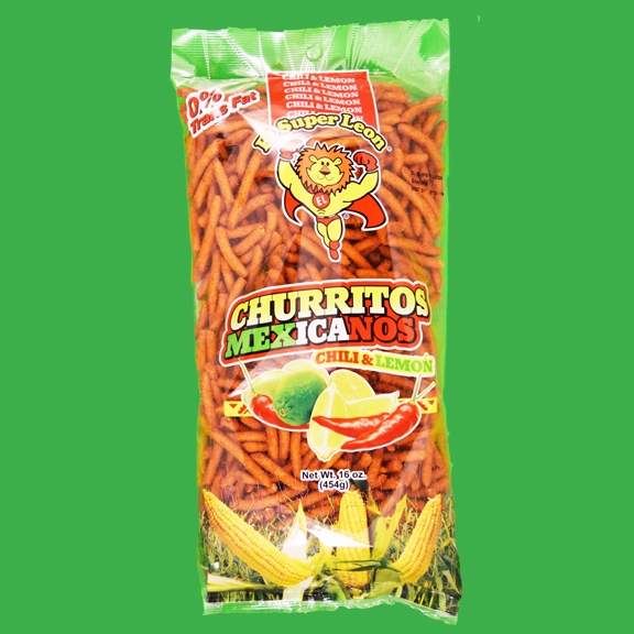 El Super Leon Ponchin Snacks Churritos Mexicanos Chili Lemon