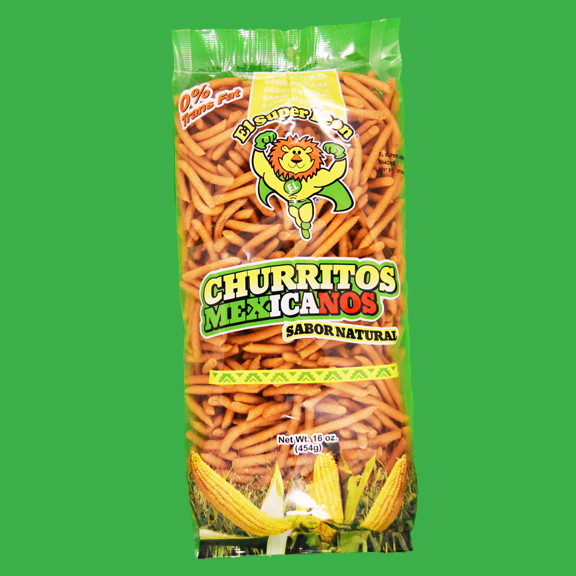 El Super Leon Ponchin Snacks Churritos Mexicanos Sabor Natural