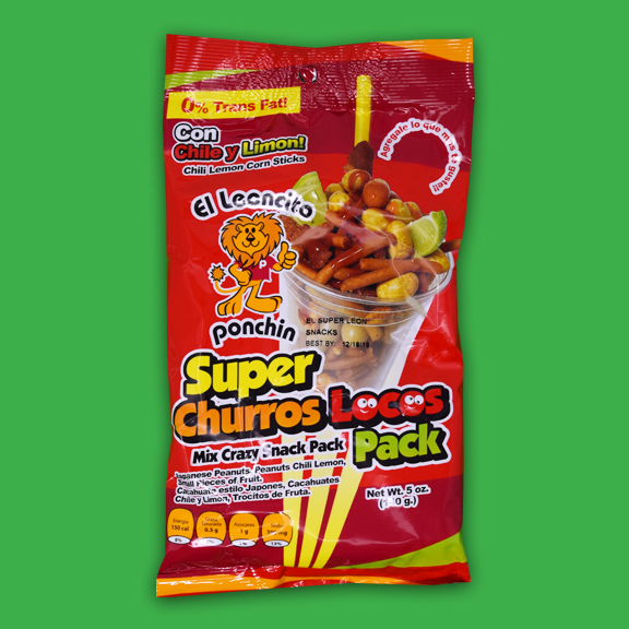 El Super Leon Ponchin Snacks Super Churros Locos Chile y Limon